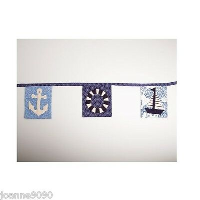 Sass & Belle Blue Nautical Seaside Fabric Bunting Cotton Garland Home Party Gift