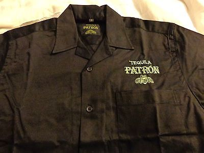 Patron Tequila Button Down Dress Shirt - Bee Logo....Black....NEW....Men's Small