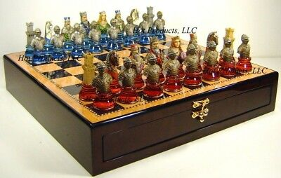 "Medieval Times Knight Crusades Large Busts Chess Set W/ 20"" Storage Board"