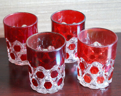 Set of 4 Antique Vintage Victorian Red Ruby Flash Glass Tumblers