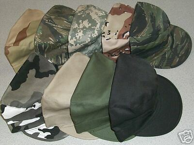 BDU Cadet Military Fatigue Skater Army Hat Cap Lid CHOICE Solid or Camo Color!!