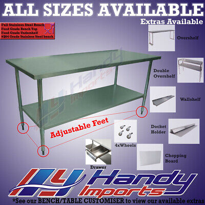 610 x 1219mm FULL STAINLESS STEEL #304 FOOD GRADE KITCHEN PREP WORK BENCH TABLE