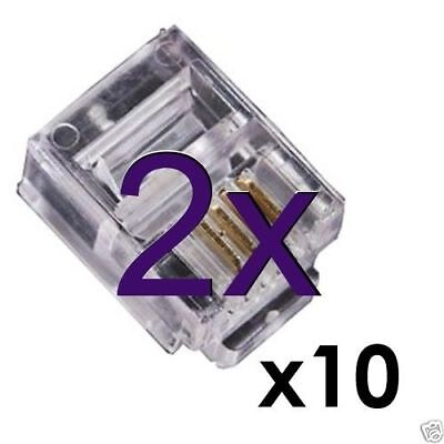 [2 x 10 pack] RJ11 crimp ends for ADSL or other Phone Cable/Lead (x20) [001254]