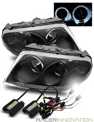 6000K Xenon HID/For 01-05 Volkswagen Passat B5 Halo Projector Headlights Black