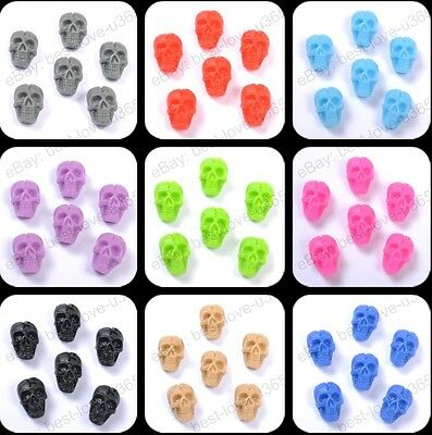 20Pcs Fashion Resin & FLATBACK & Carved Skull Beads Jewelry Findings 10X6MM