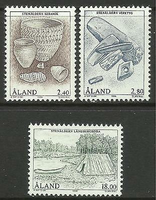 ALAND. 1994. Archaeology - The Stone Age Set. SG: 87/89. Mint Never Hinged.