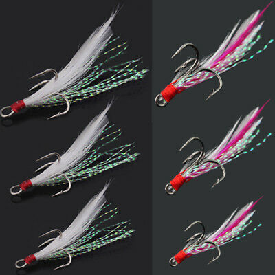 10x Feather Hooks Lures Baits Storm Mackerel Sea Fishing Rigs Lures Hooks