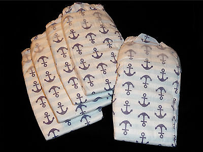Honest Company,set of 5 Anchor print diapers for Reborn baby, doll, Baby shower