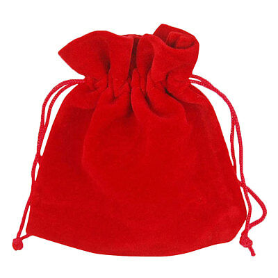 10 Red Velvet Jewellery Drawstring Gift Pouches 7cm x 9cm