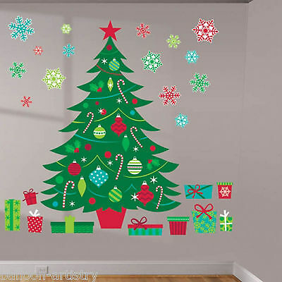 Christmas Tree Whimsy Party Stickers Wall Art Decorating Kit