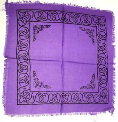 """Celtic Knot Altar / Tarot Cloth 18"""" x 18"""" Purple with Fringe (NEW, Wicca Pagan)"""