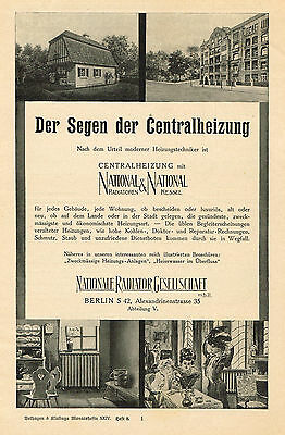 1910 AD National Berlin heating, radiators and heaters-German advertising
