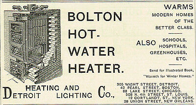 1891 AD Bolton Hot Water Heater-Detroit Heating & Lighting Co. advertising • CAD $7.58