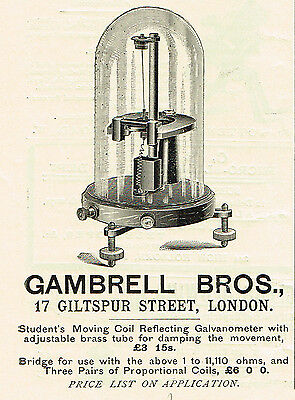 1899 AD Gambrell Bross. Moving Coil Galvanometer-17 Giltspur St. London