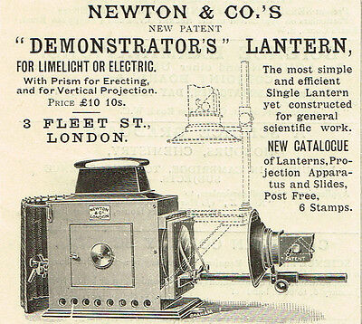 1899 Vintage Newton & Co. limelight or electric Demonstrator's Lantern print AD