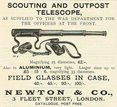 1900 Vintage Newton Scouting and Outpost Telescope print AD