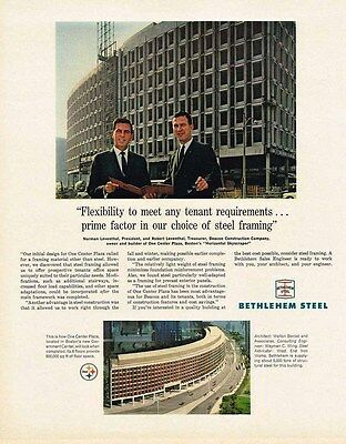 1966 Metal AD Bethlehem Steel One Center Plaza Boston-ORIGINAL ADVERTISING