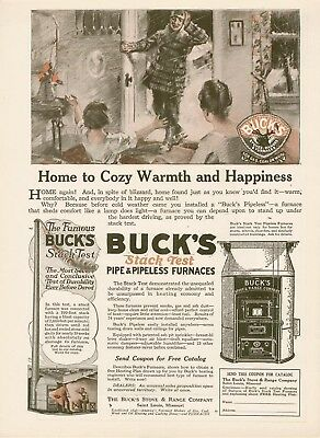 1920 Buck Stove & Range Co furnaces cozy warmth AD