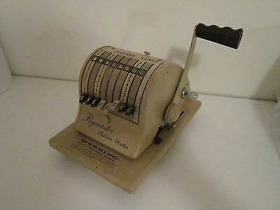 Vintage Paymaster Series 8000 Ribbon Check Writer w/ Original Cover and Key