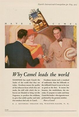 1927 Camel cigarettes Why lead the world? print AD