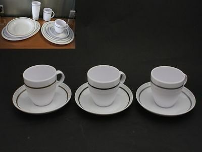 36 x Melamine Tea Cup and Saucer Pin Line 15cm 3 Assorted Bulk Wholesale lot