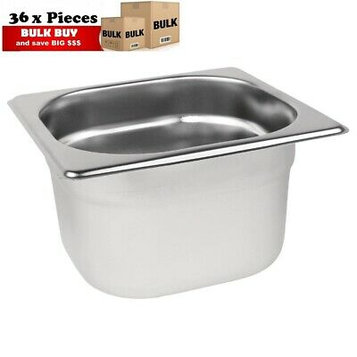 36PCS S/STEEL CONTAINER GN  1/6 GASTRONORM TRAY FOODGRADE 100mm DEEP