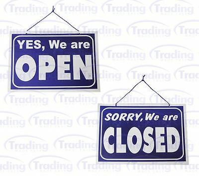 Open / Closed Hanging Shop Sign / Restaurant - Opening Time - Blue