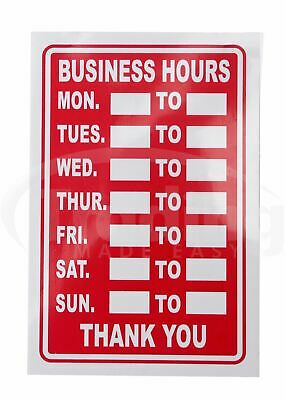 Red Business Hours Shop Sign / Restaurant - Opening Times