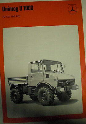 Mercedes Benz Unimog U1000 70 Kw ( 95 Ps ) Sales Brochure Prospekt