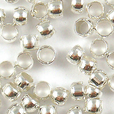 500 Pcs Silver Plated Round Crimp End Beads 3mm