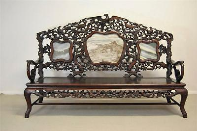 Asian Carved Teak Sofa Bench with Soapstone Inserts Carved Eagles