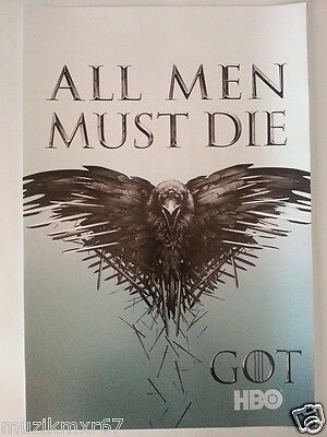 "SDCC Comic Con 2014 Handout HBO GAME OF THRONES ""All Men Must Die"" poster"