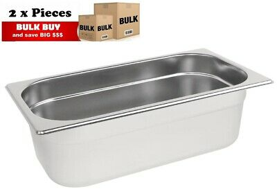 2PCS S/STEEL CONTAINER GN  1/3 GASTRONORM TRAY FOODGRADE 100mm DEEP