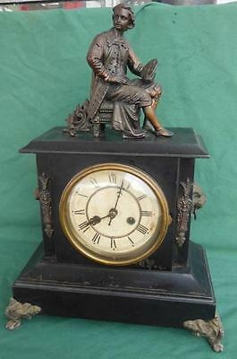 Antique 1898 Bronze Figural Shelf Mantel Clock Lions Head Victorian + Key Works