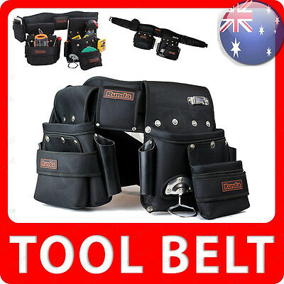 NEW Runda Heavy Duty Tool Belt Set Nail Storage Trade Pocket Bag Hammer Holder