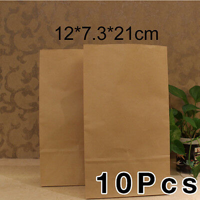 10x Small Brown Paper Kraft Flat Bottom Bags Favour Lolly Wedding Party Gift NEW