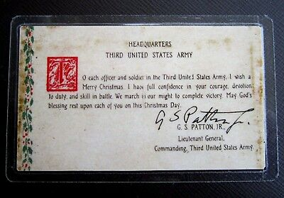"""GEN. PATTON'S """"THIRD ARMY PRAYER CARD"""" - WWII with AUTOGRAPH"""