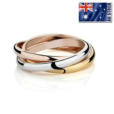 18k White Yellow Rose Tri-gold Plated Laides Mens Solid Fashion Wedding Ring