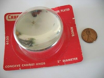 "Vintage NOS 2"" Round CHROME KNOB Concave Dished Atomic Mid Century Pull Handle"