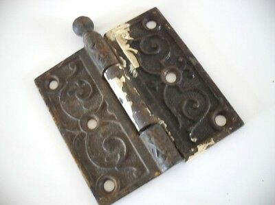 "1 Vtg Victorian Ball Tip ORNATE scrolled Steel Entry Door Hinge 3-1/2"" X 3-1/2"