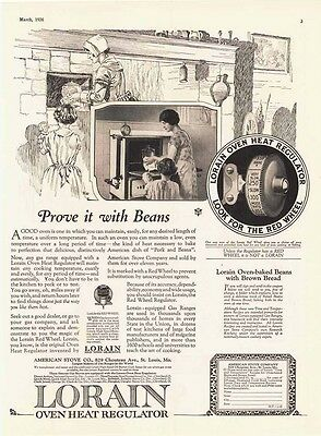 1926 AD Lorain Oven Heat Regulator prove it with beans  advertising