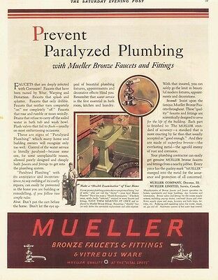 1929 AD Mueller bronze faucets and fittings prevent paralyzed plumbing  advertis • CAD $7.55