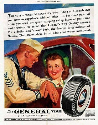 1941 AD General Tire-sailman and young woman ORIGINAL ADVERTISING