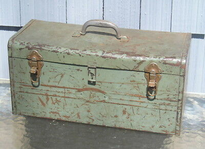 Vintage Industrial Age Deco Arts Crafts Worn Tool Box with Insert Old Great Look