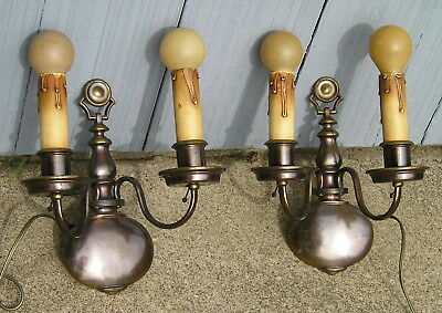 Pair of OLD 2 Light Wall Light Fixtures Classic with Old Round Bulbs Nice Scones