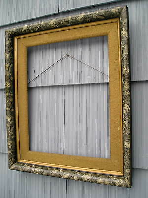 Antique Aesthetic Eastlake Victorian Marbled Picture Frame Beaded Gold Liner OLD