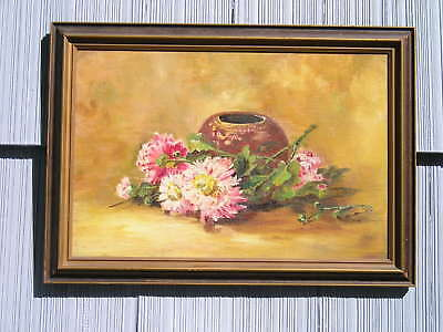 Antique Vintage Art Crafts Art Nouveau Picture Frame w Old Floral Painting