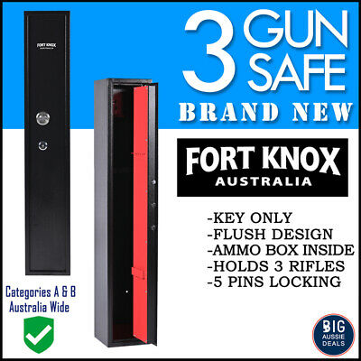 Fort Knox 3 Gun Safe Firearm Rifle Storage Lock Box Steel Cabinet