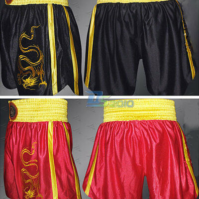 Dragon Embroidery Martial Art Muay Thai Kick Boxing Shorts MMA Training Pant