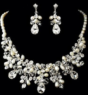 Bridal Wedding Necklace Earring Handmade Jewellery Set Luxury Party